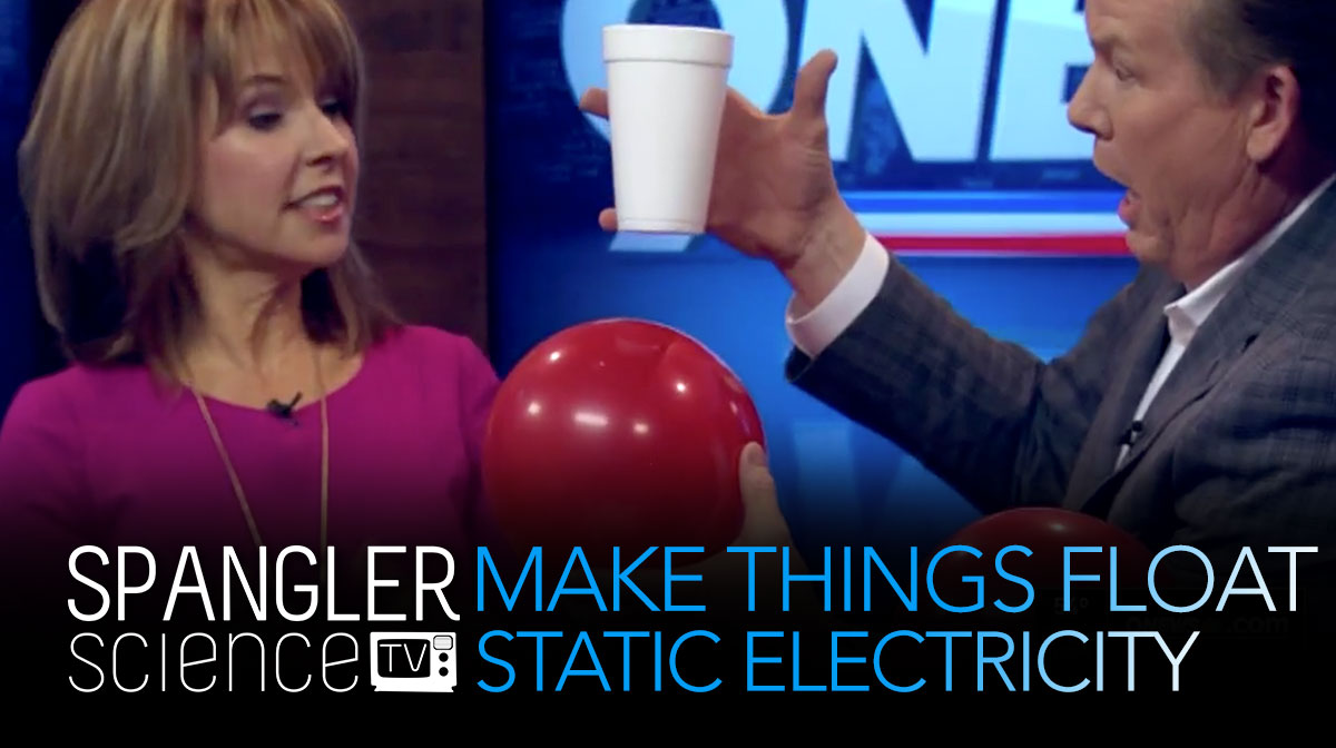 Steve Spangler showing how to make things float using static electricity on 9NEWS