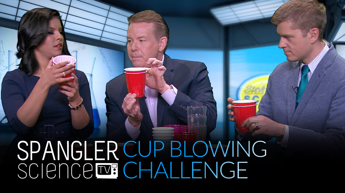 Steve Spangler Demonstrates the New Cups Blowing Challenge on 9News