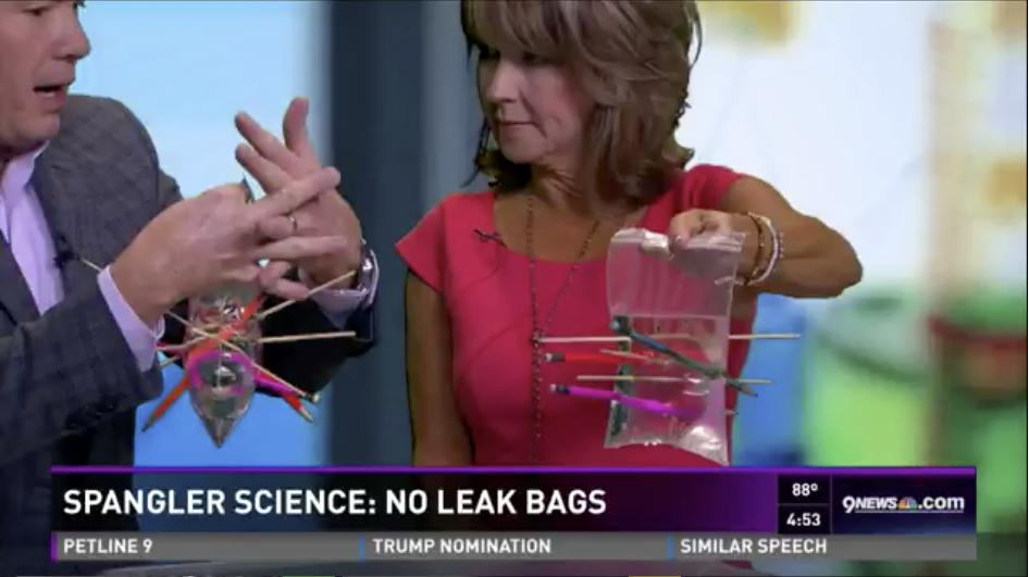 Steve and Kim doing Leak Proof Bag experiment